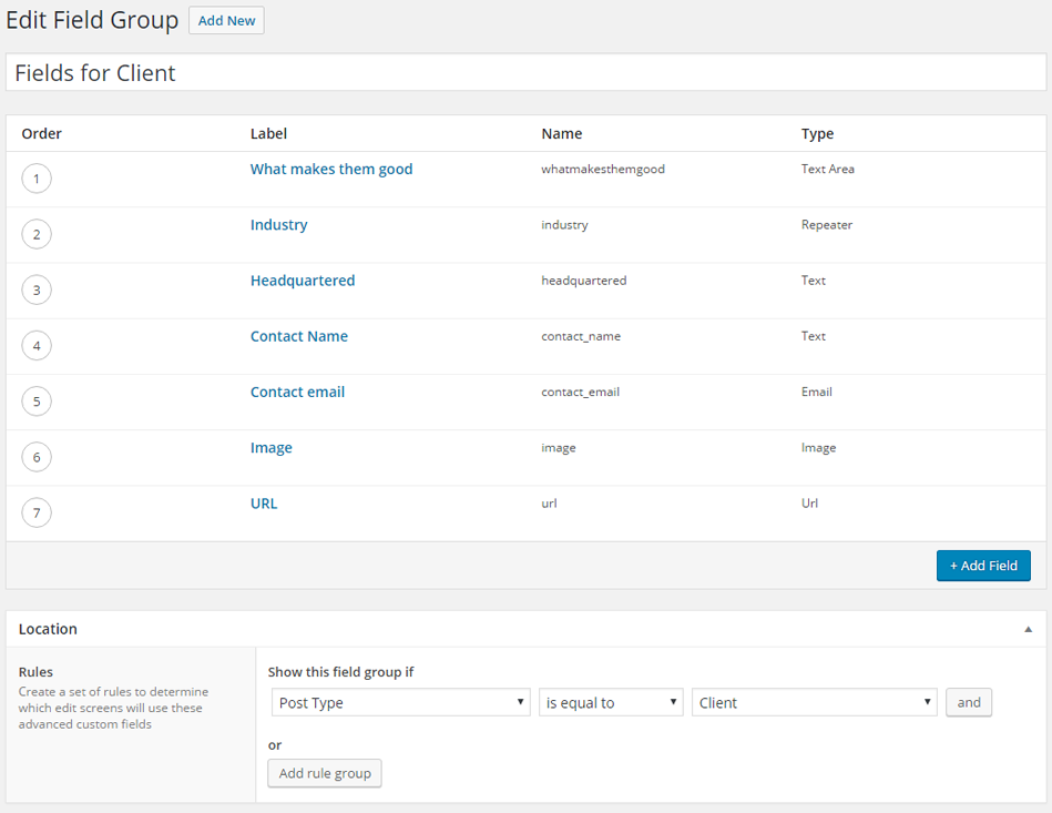Create client field group